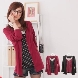 【衣心衣意中大尺碼】柔情美人    日系點點蕾絲花邊假兩件外套(黑-紅FA2A1068)