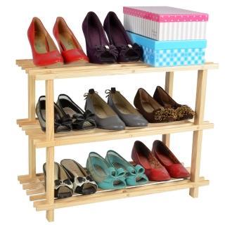 【LIFECODE】自然風格-免螺絲松木三層鞋架/組合鞋架