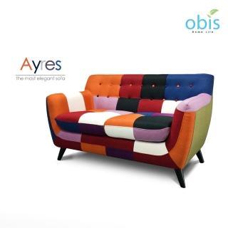 【Obis】Ayres 現代風拼色設計獨立筒雙人布沙發