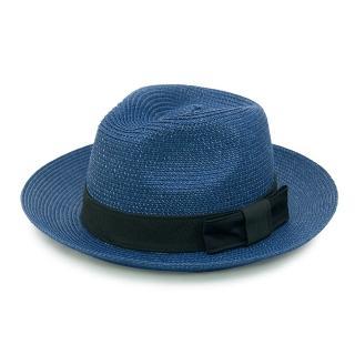 【Limehi】時尚造型黑緞帶蝴蝶結草帽 沙灘遮陽帽(藍黑 Lime-14)