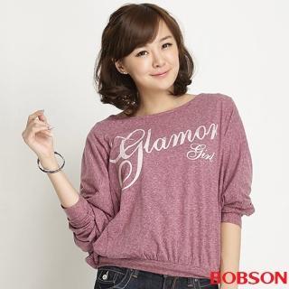【BOBSON】女款字母印圖連袖上衣(紫紅32088-62)