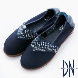 【DN】優雅季節 細柔觸感點鑽微口舒適包鞋(藍)