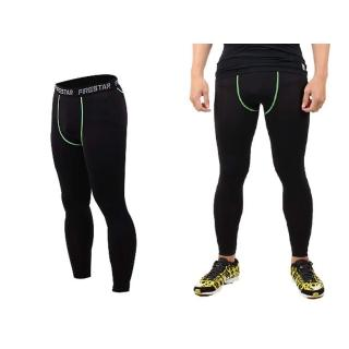 【FIRESTAR】男機能緊身長褲-慢跑 路跑 與NIKE PRO同版型 黑綠(N3805-63)