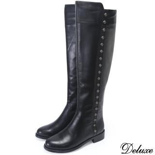 【Deluxe】摩登都會時尚流行全真皮帥氣長筒靴(黑)