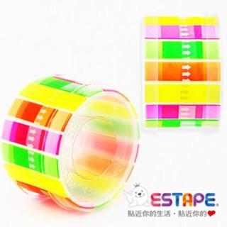 【ESTAPE】易撕貼-Memo抽取式膠帶_全彩螢光4色組合(2入組)