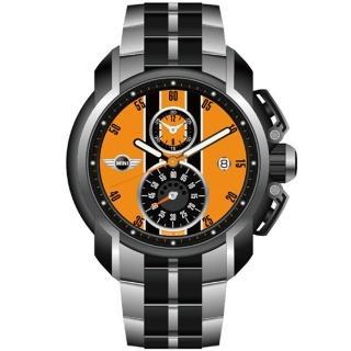 【MINI Swiss Watches】急速奔騰三眼計時腕錶(橘/45mm-MINI-38)