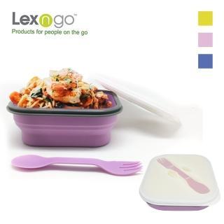 【Lexngo】可折疊義大利麵盒附叉子-850ml(餐盒 環保 便當盒 折疊 野餐)