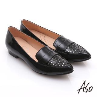 【effie】輕透美型 鏡面羊皮混異材質樂福平底鞋(黑)