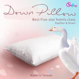 【Embrace英柏絲】五星級飯店指定御用 水鳥羽絨枕 100%純棉表布防絨加工(一入)