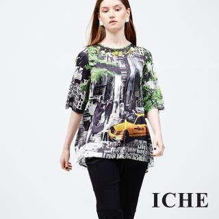 【ICHE 衣哲】釘珠城市印花造型上衣