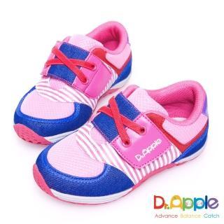 【Dr. Apple 機能童鞋】條紋牛仔布俐落西部風童鞋(粉)