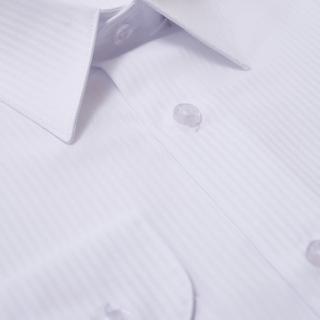 【Emilio Valentino 范倫提諾】仿天絲條紋長袖襯衫(白)
