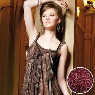 【羅絲美睡衣】時尚豹紋性感細肩帶洋裝睡衣(紅豹紋)