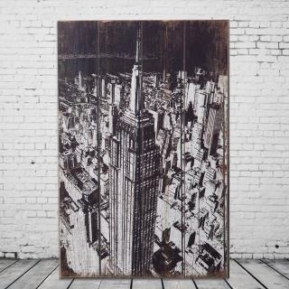【OPUS LOFT純真年代】40X60仿舊木板畫/無框畫/掛畫擺飾(A46004-2 美國帝國大廈)