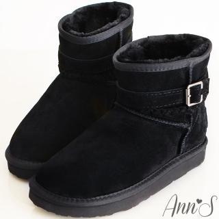 【Ann'S】甜蜜穿搭麻花釦帶3way真皮雪靴(黑)