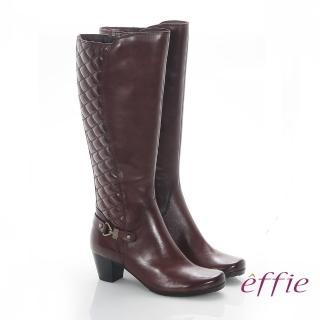 【effie】魅力時尚 真皮後側拼接菱格中跟長靴(咖啡)