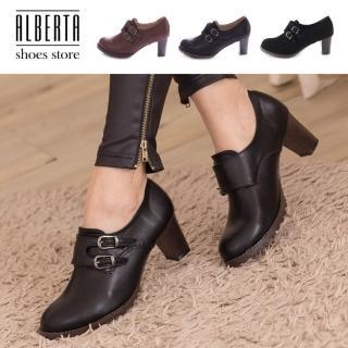 【Alberta】韓版質感皮革 舒適魔鬼氈穿脫 舒適粗高跟 牛津踝靴短靴
