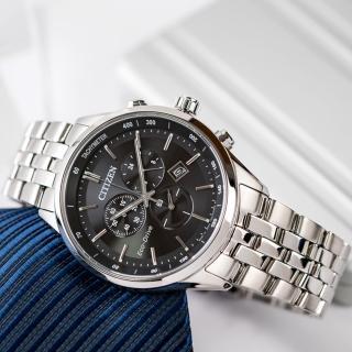 【CITIZEN 星辰】風潮湧現光動能時尚腕錶-黑x銀(AT2140-55E)