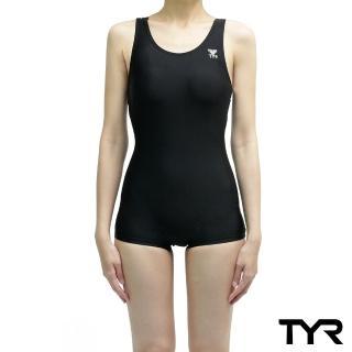 【美國TYR】女用連身四角黑色訓練款泳裝Solid Boyleg(台灣總代理)