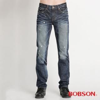 【BOBSON】男款貓鬚立體壓摺直筒褲(1749-53)
