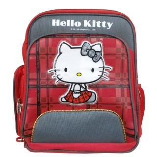 【imitu 米圖】Hello Kitty 凱蒂貓 蘇格蘭格紋高級護脊書包