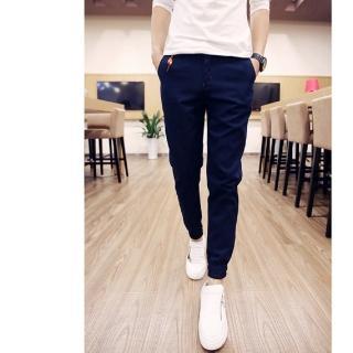 【NBL】L83891深藍色縮口九分褲哈倫褲縮口褲束腳褲(尺寸偏小大腿較粗請購買加大1碼)