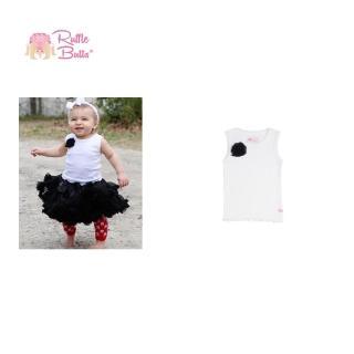 【美國 RuffleButts】甜美小女童背心_黑色小花白色背心(RBTT03)