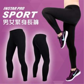 【INSTAR】PRO SPORT男女緊身長褲-緊身褲 台灣製 慢跑 路跑 黑(3119701)