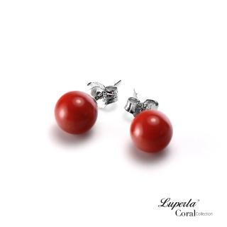 【大東山珠寶】天然全紅沙丁珊瑚6-6.5mm針式貼耳耳環(天然全紅沙丁珊瑚)