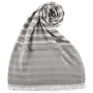 【ARMANI COLLEZIONI】簡約拼接條紋流蘇披肩圍巾(灰色)