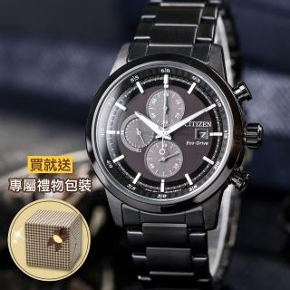 【CITIZEN 星辰】三眼計時光動能錶-鍍黑(CA0615-59E)