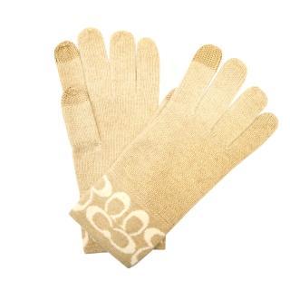 【COACH】質感柔軟觸感經典 C LOGO羊毛手套(黑)