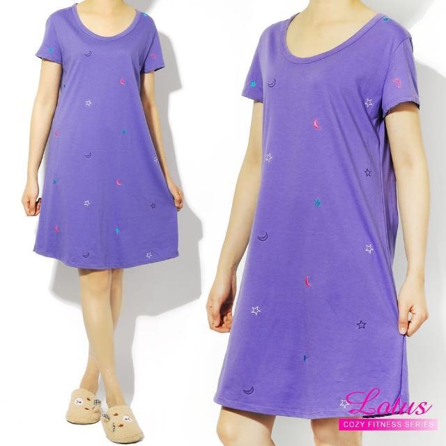 【LOTUS】歐美俏皮點綴短袖睡裙(紫色)