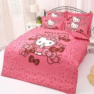 【享夢城堡】精梳棉雙人床包兩用被套四件組(HELLO KITTY 我的小可愛-粉)