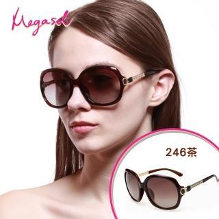 【MEGASOL】寶麗萊UV400防眩偏光手工太陽眼鏡(Dior設計師款三股編織金飾-MS246)/
