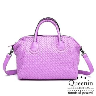 【DF Queenin】日系編織款大容量2用式貝殼包-共4色