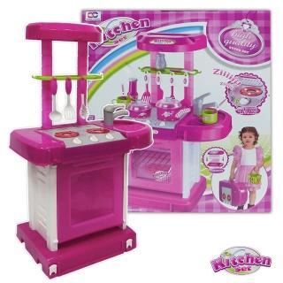 【酷博士】手提式聲光音樂廚具台組008-56(粉色)