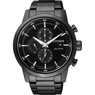 【CITIZEN】Eco-Drive光動能城市計時碼錶-黑/ 43mm(CA0615-59E)