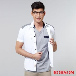 【BOBSON】男款配格紋布襯衫(白25040-80)