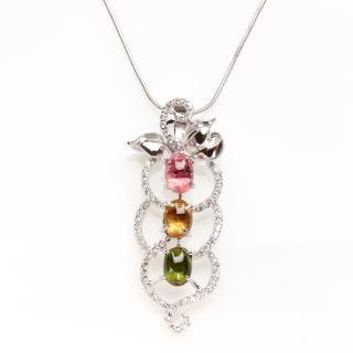 【寶石方塊】春暖花開天然碧璽墜子-925純銀飾