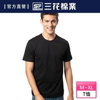 【SunFlower三花】三花彩色圓領衫.男內衣.短袖衫(黑)