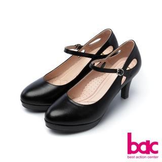 【bac】浪漫美學-素雅縷空瑪莉珍防水台微尖頭高跟鞋(黑色)
