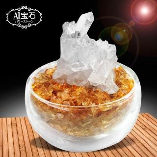 【A1寶石】招財轉運白水晶簇-黃水晶聚寶盆(含開光)