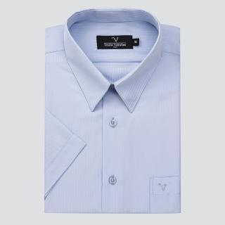 【Emilio Valentino 范倫提諾】吸濕排汗條紋短袖襯衫(藍)