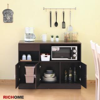 【RICHOME】畢卡索防潑水三門一抽餐櫃/收納櫃/置物櫃/中島櫃/廚房櫃-2色(台灣製)