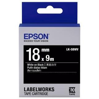 【EPSON】標籤機色帶黑底白字/18mm(LK-5BWV)