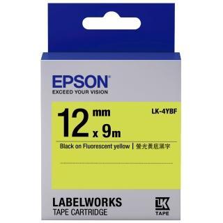 【EPSON】標籤機色帶 黃底黑字/12mm(LK-4YBF)