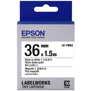 【EPSON】標籤機色帶磁鐵系列白底黑字/36mm(LK-7WB2)