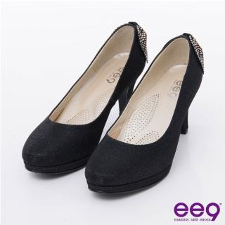 【ee9】心滿益足-通勤私藏進口閃亮彩布夢幻亮鑽蝴蝶結素面高跟鞋*黑色(高跟鞋)