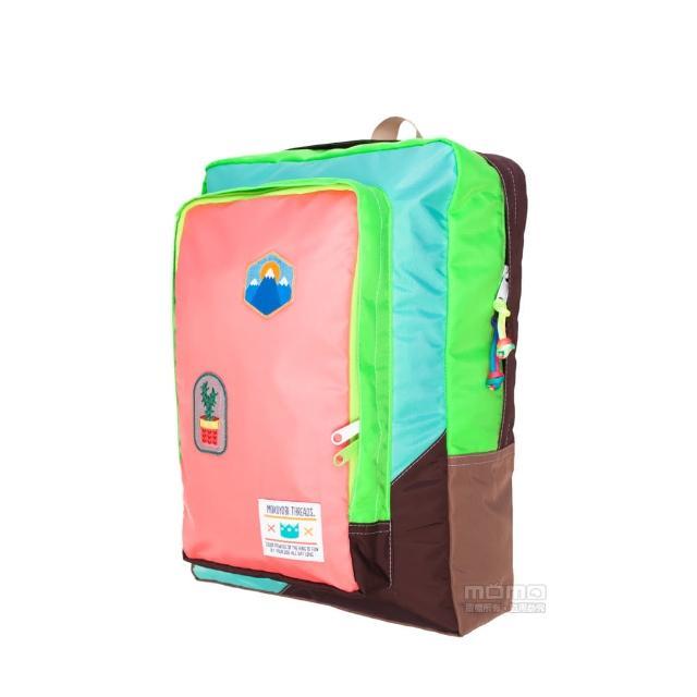 【MOKUYOBI】L.A 空運繽紛拼貼旅行必備多功能筆電電鏽章後背包 - 粉橘色(Flyer Packs)